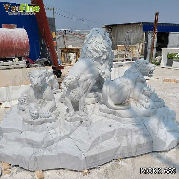 Marble Lion Family Statue Animal Sculpture