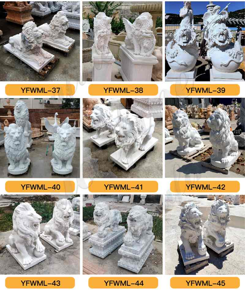 Marble Lion Statues for Front Porch