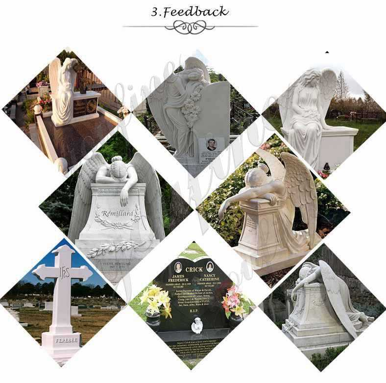 Marble angel memorials headstones