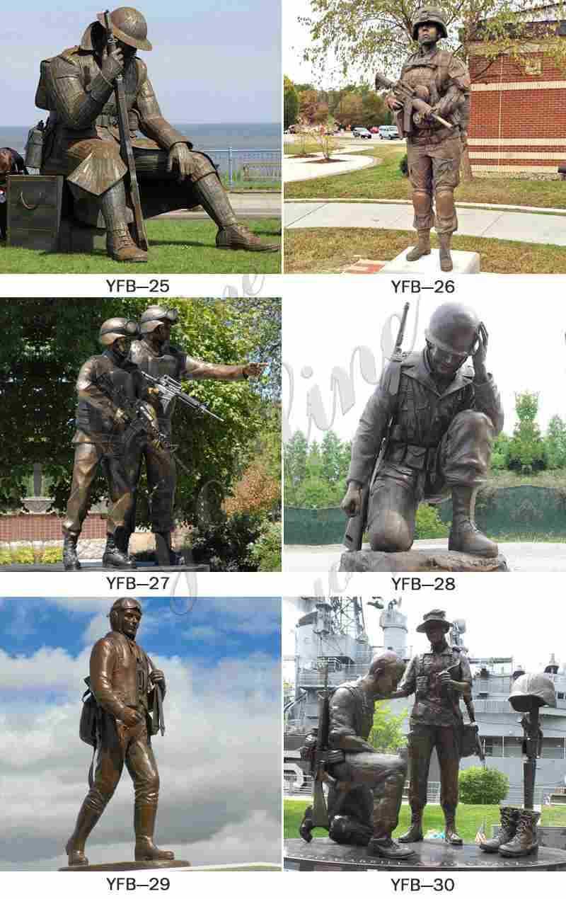 Outdoor Antique Bronze Soldier Sculptures