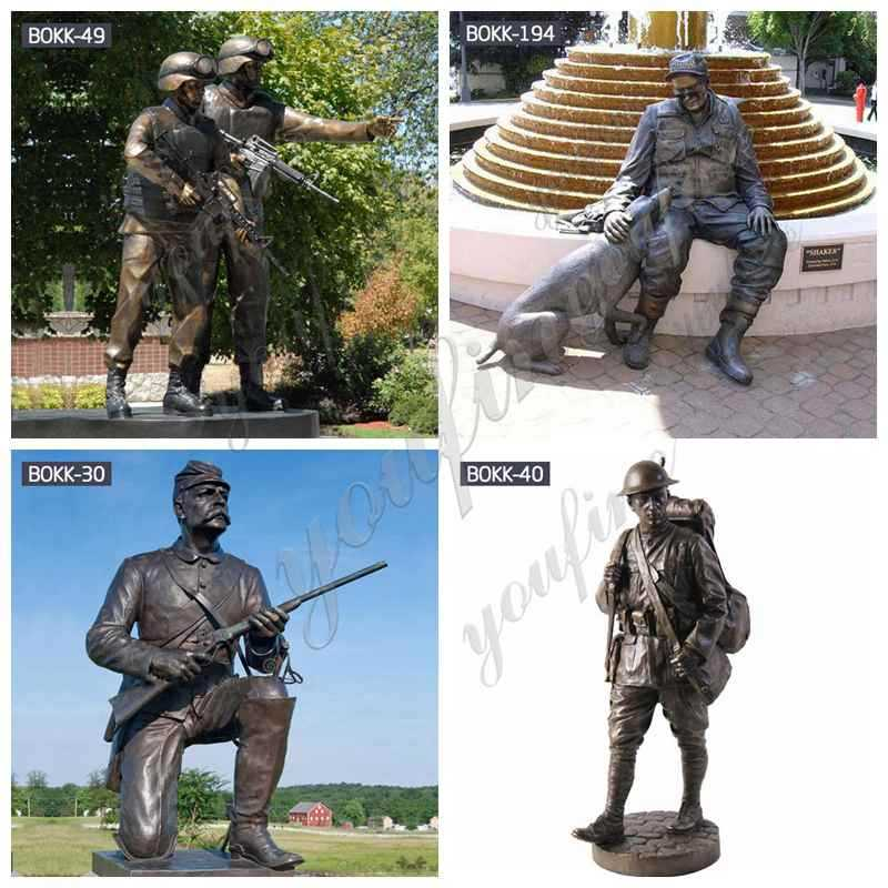 Outdoor Antique Bronze Solider Garden Sculptures