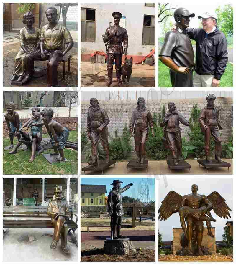 Outdoor Antique Bronze Solider Sculpture