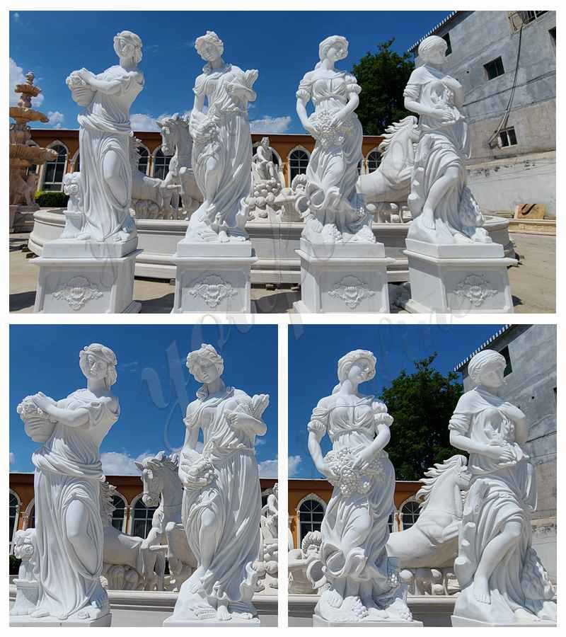 Outdoor Garden Four Seasons Marble Statues details