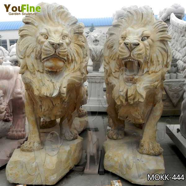 Outdoor Italian Style Beige Stone Lion Statues for Sale MOKK-444