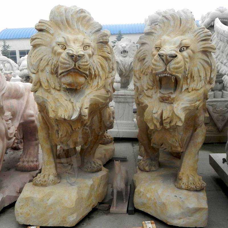 Outdoor Italian Style Beige Stone Lion Statues