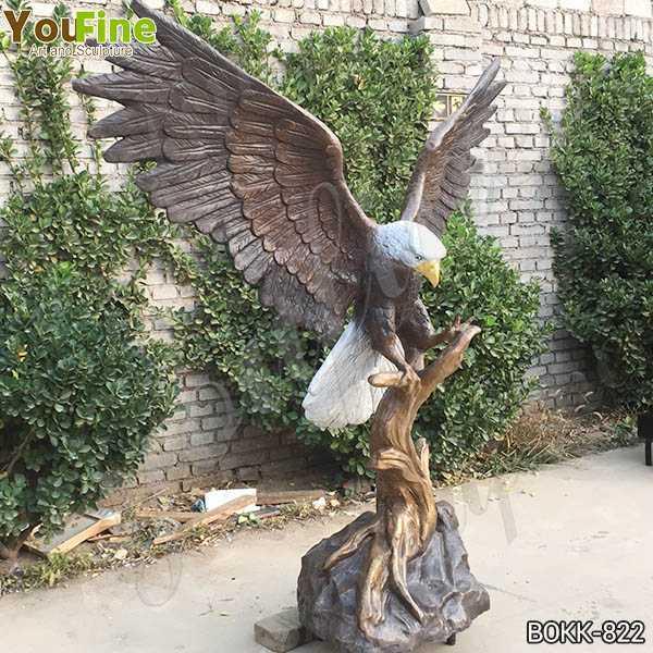 Solid Bronze Eagle Statue for Garden Decor
