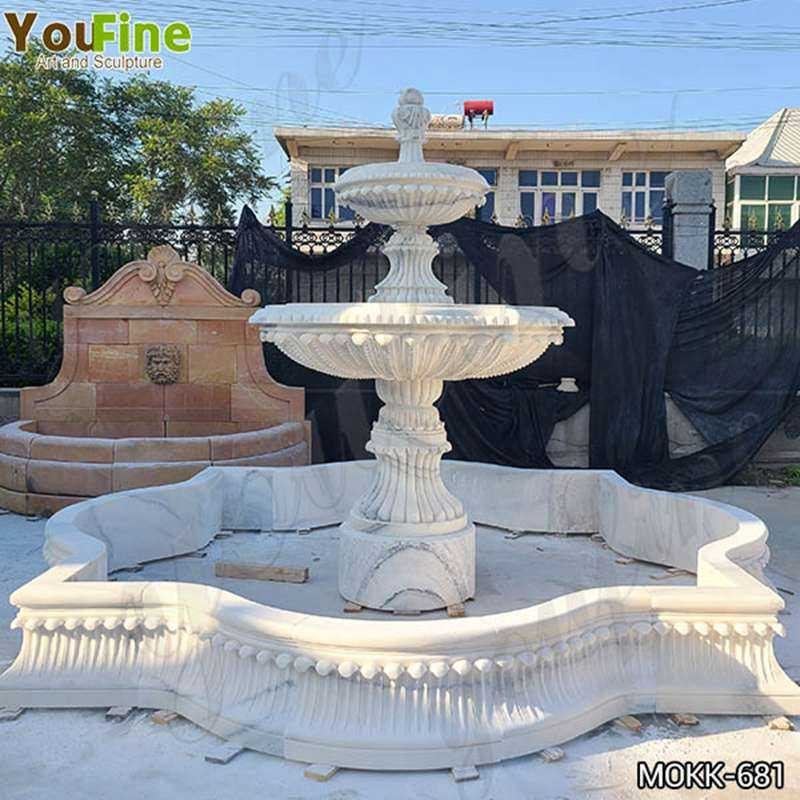 Two Tiered Marble Garden Fountain Design Manufacturers MOKK-681