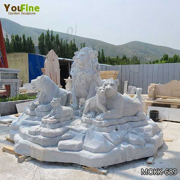 White Marble Lion Family Statue Animal Sculpture for Sale MOKK-689