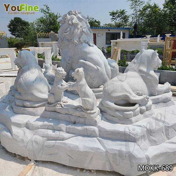 White Marble Lion Family Statue for Sale