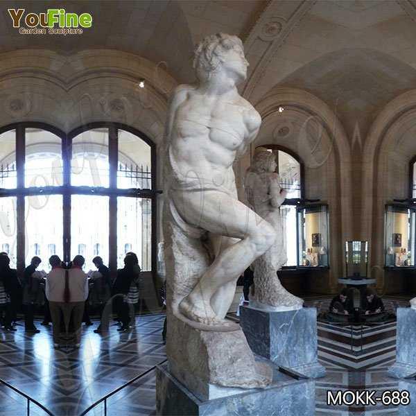 White Marble Rebellious Slave Statue Replica for Sale