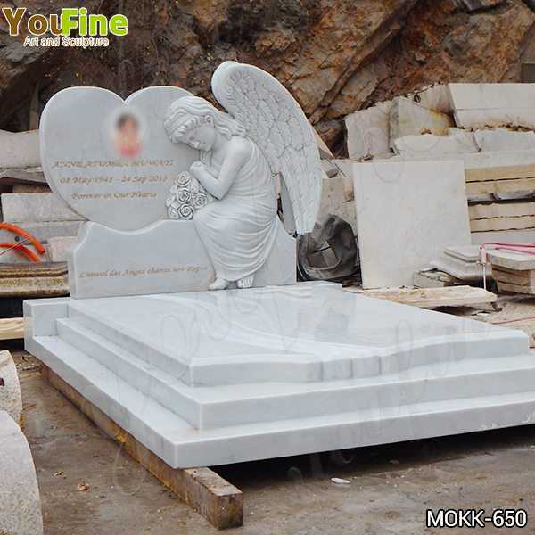 White Marble Upright Angel Headstones Prices