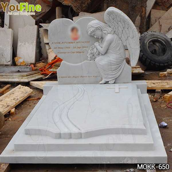 White Marble Upright Angel Headstones