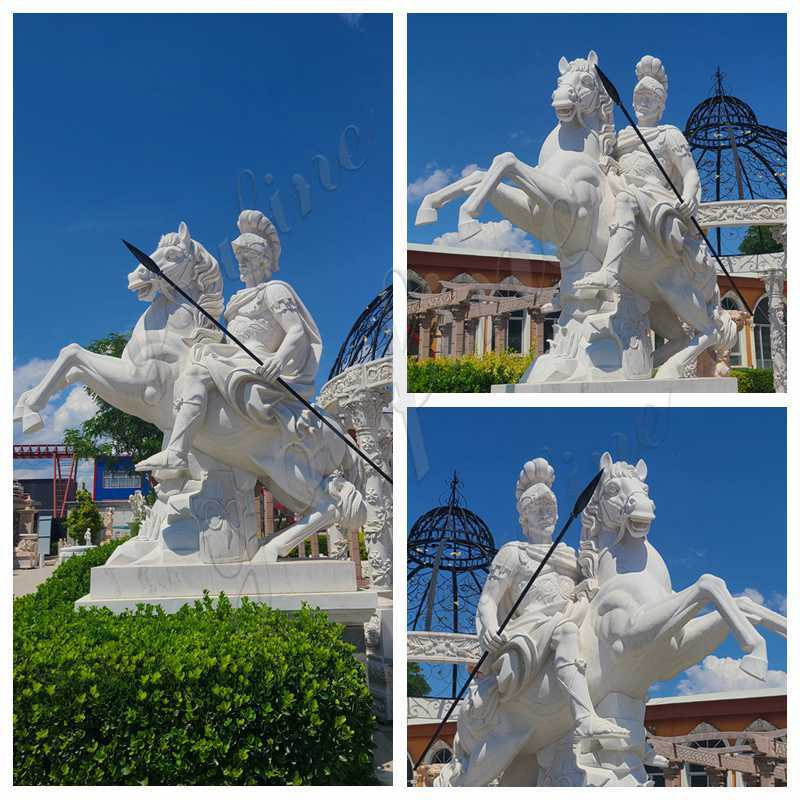 White Marble Warrior Statue with Horse