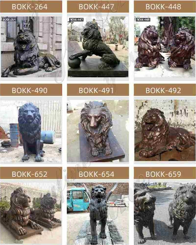 bronze lion statues outdoor