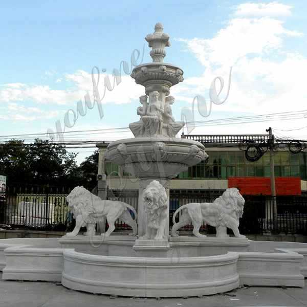 two tiered outdoor garden pure white marble fountain with lion statue