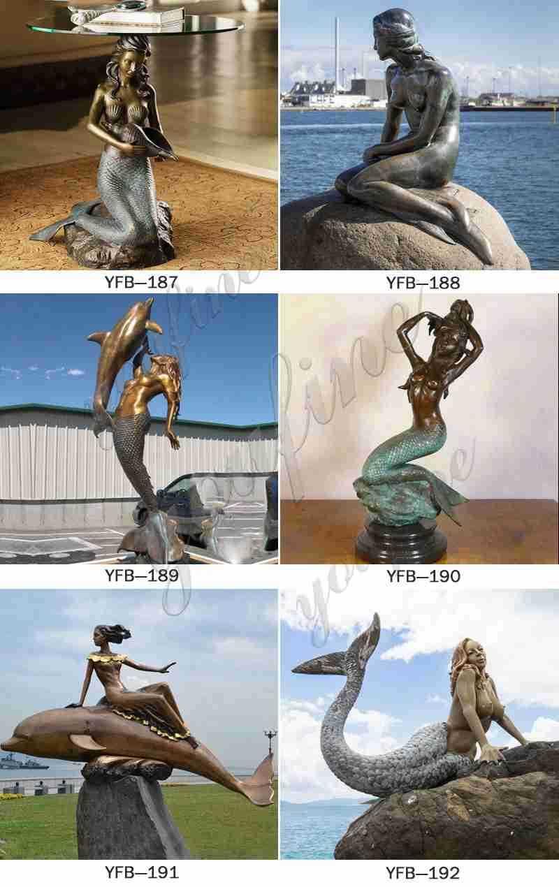 Antique Bronze Mermaid Sculpture