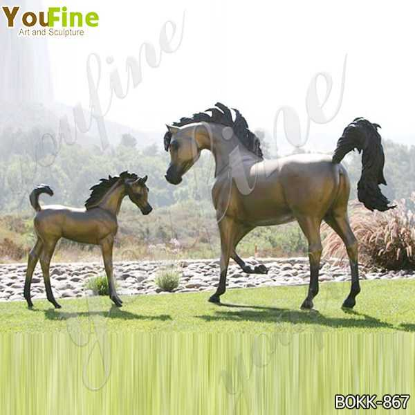 Antique Mare and Filly Bronze Statue for Outdoor Decor Suppliers