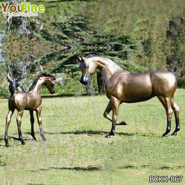 Antique Mare and Filly Bronze Statue for Outdoor Decor