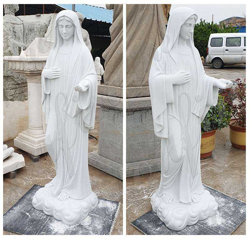 Blessed Virgin Mary Marble Statue with Outstretched Arm details