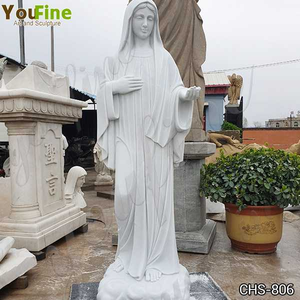 Blessed Virgin Mary Marble Statue with Outstretched Arm