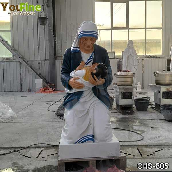 Catholic Marble Mother Teresa Holding Baby Statue for Sale