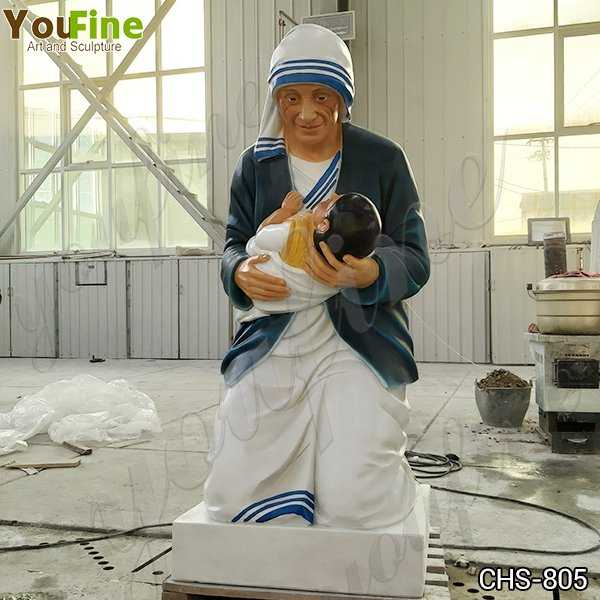 Customized Catholic Marble Mother Teresa Holding Baby Statue for Sale CHS-805