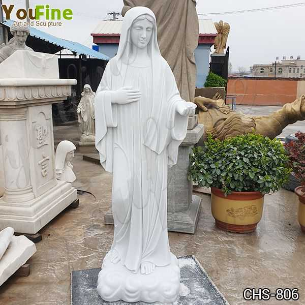 Classic Blessed Virgin Mary Marble Statue with Outstretched Arm Suppliers
