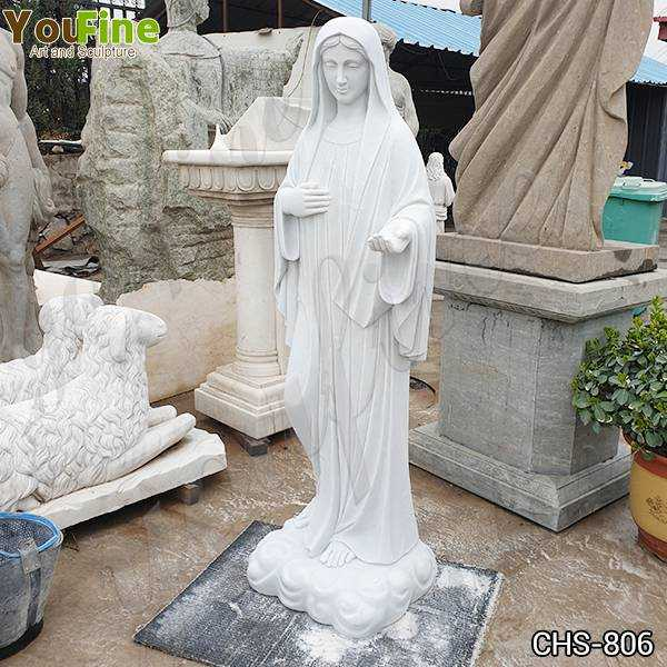 Classic Blessed Virgin Mary Marble Statue with Outstretched Arm