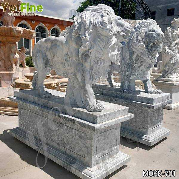 Classic Majestic Marble Walking Lion Statues Outdoor for Sale