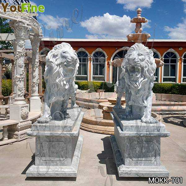 Classic Majestic Marble Walking Lion Statues Outdoor