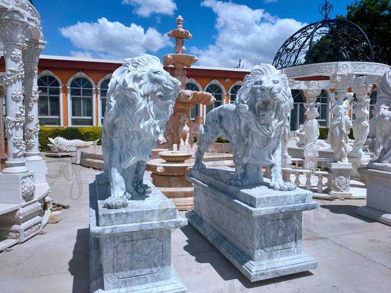 Classic Majestic Marble Walking Lion Statues