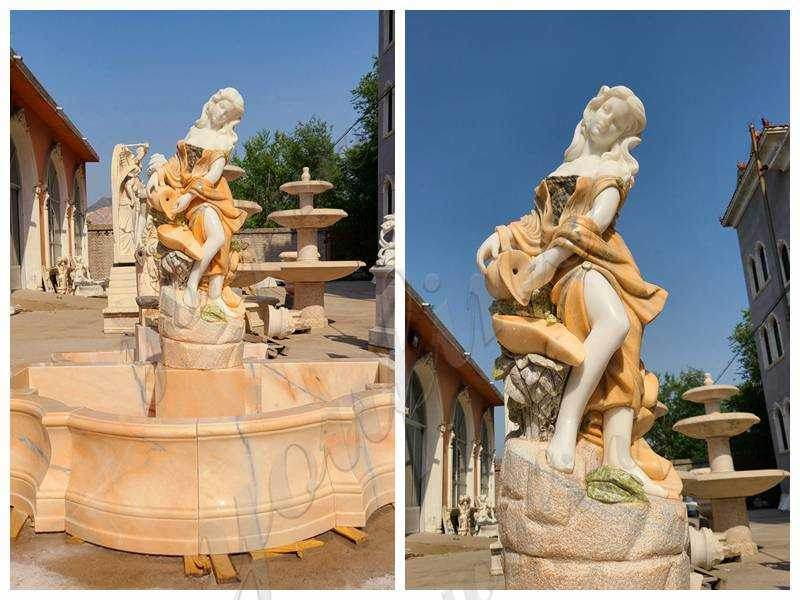 Classic Victorian Lady Beige Marble Fountain detail
