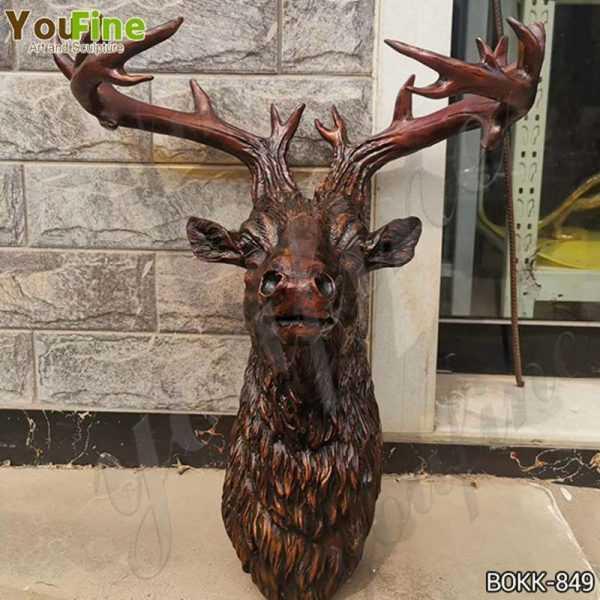 Custom Made Bronze Deer Head Statue for Home Decor