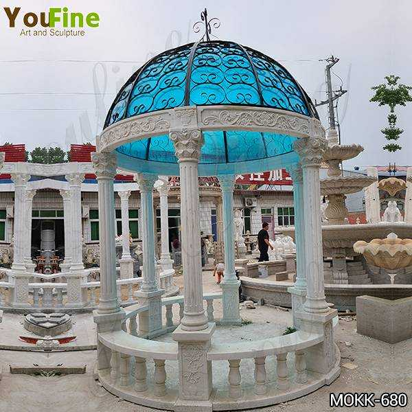 Customized Outdoor Marble Garden Column Gazebo for Sale