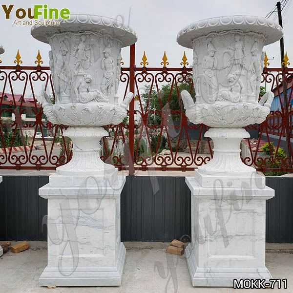 Delicate Garden Decoration Marble Flower Pots with Human for Sale MOKK-711
