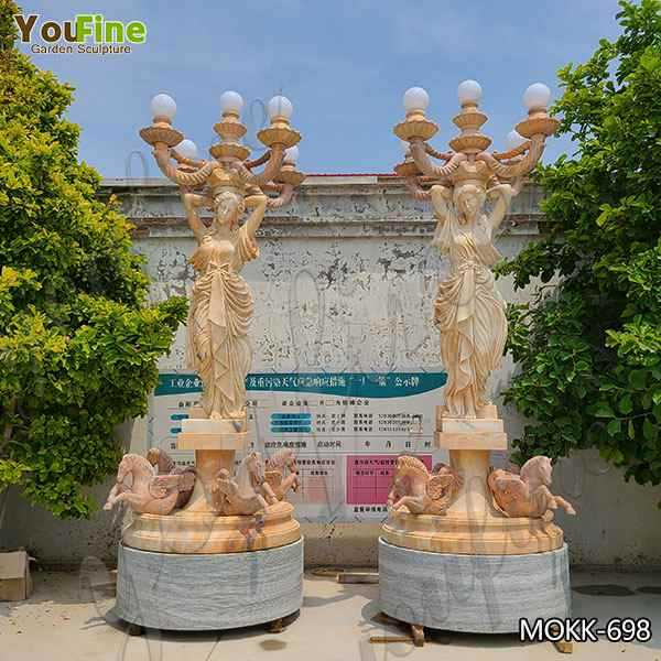 European Style Natural Beige Marble Lady Statue with Lamp for Sale MOKK-698