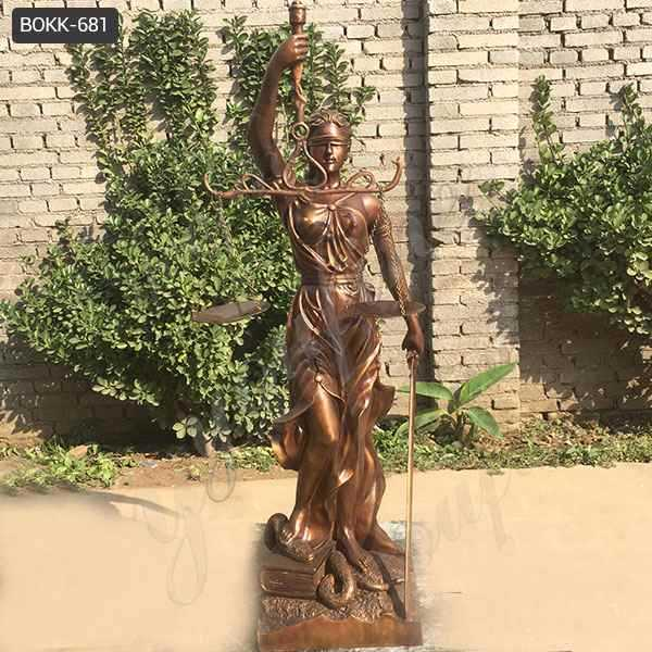 Famous Western Antique Bronze Lady Justice Statue for Outdoor Decor Supplier BOKK-681