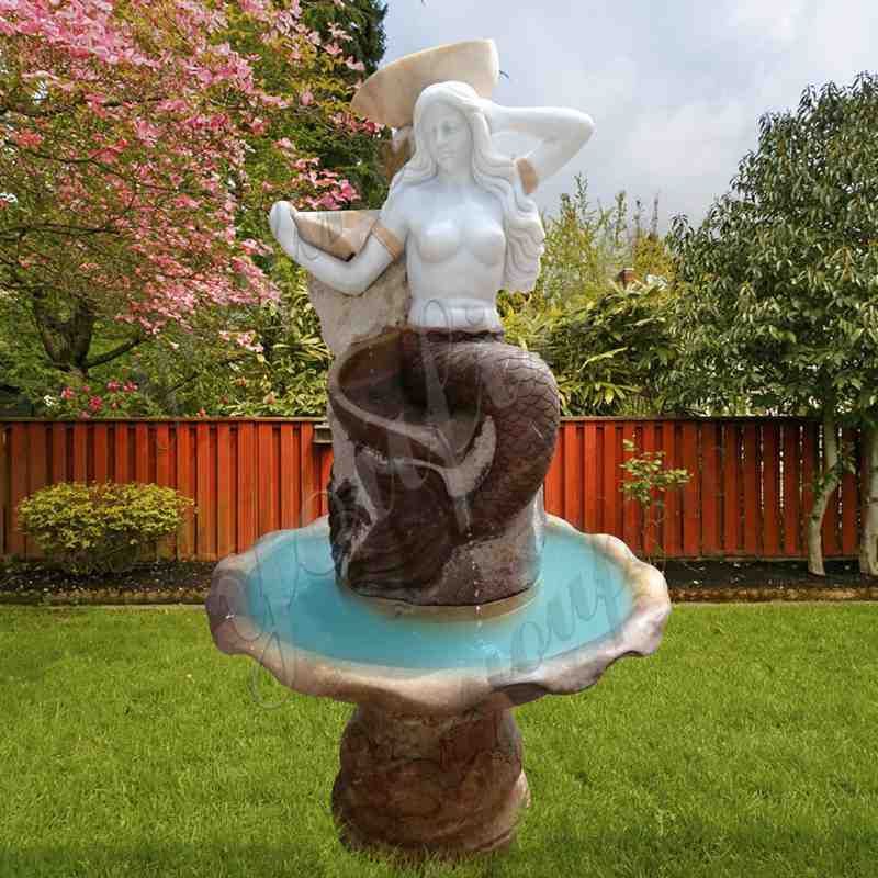 Garden Life Size Marble Mermaid Fountain for Sale