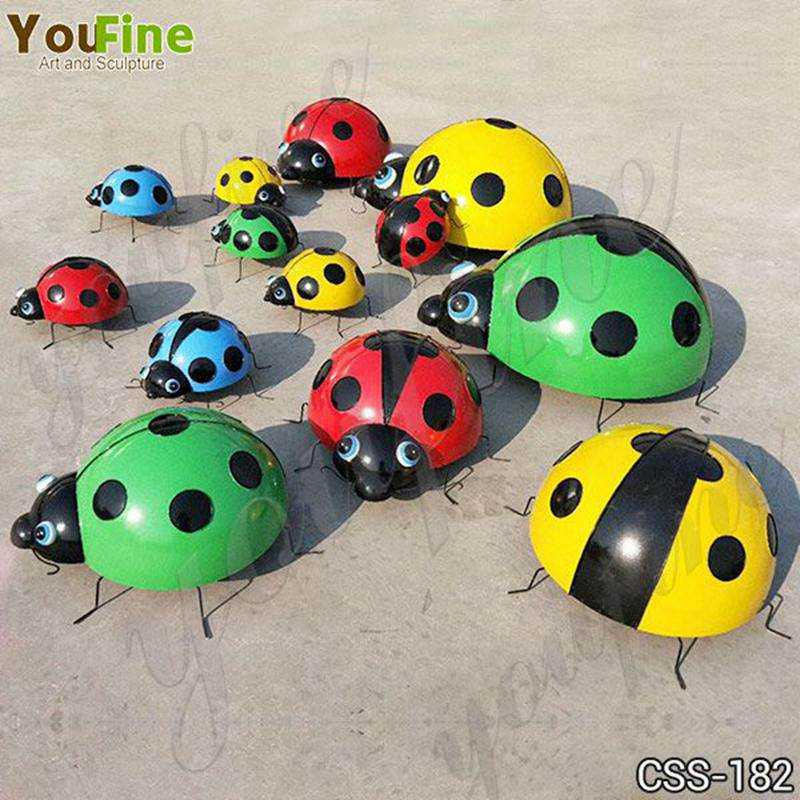 Garden Stainless Steel Ladybug Sculptures for Sale