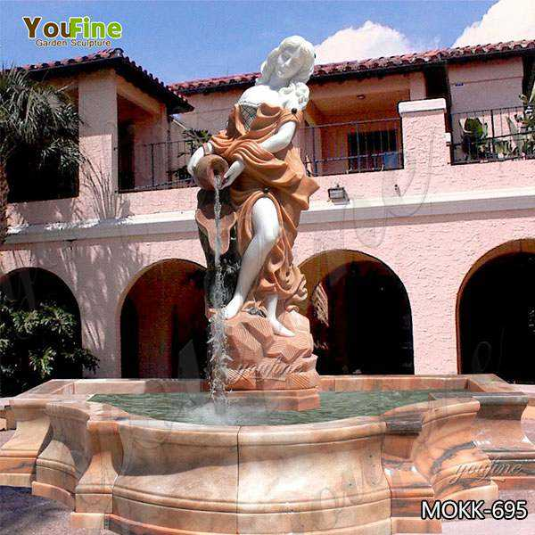 Classic Garden Victorian Lady Red Marble Fountain Suppliers MOKK-695