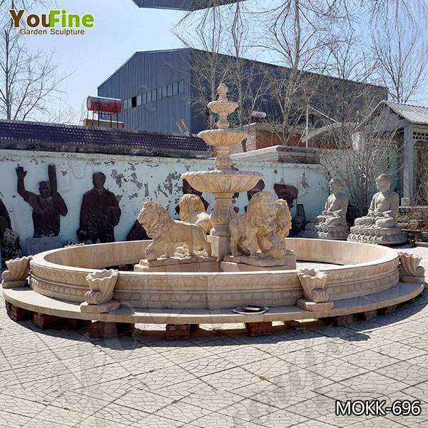 High Quality Tiered Beige Marble Water Lion Fountain Factory MOKK-696