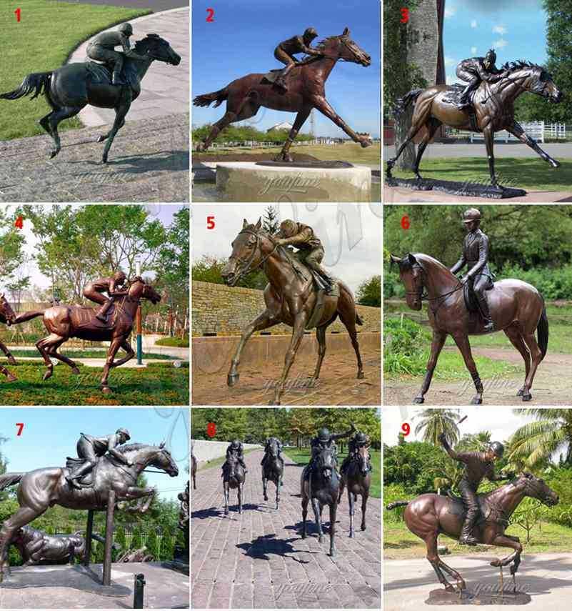 Hot Selling Life Size Outdoor Bronze Racing Horse Sculpture