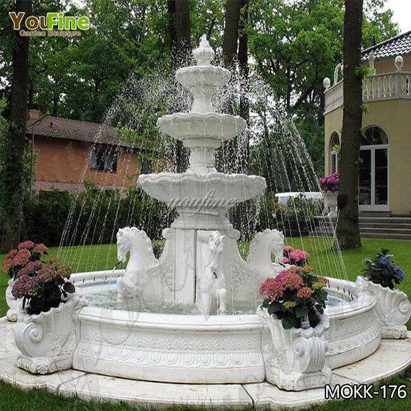 Hot Selling Outdoor Three Tiered Marble Water Horse Fountain for Sale MOKK-176