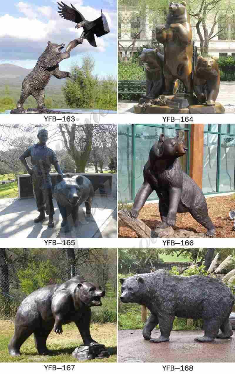 Large Bronze Bear Family Sculpture