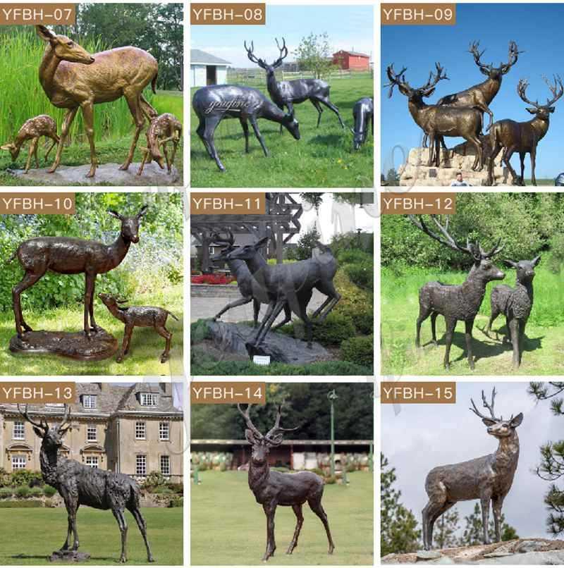Large Bronze Deer Garden Statue detail