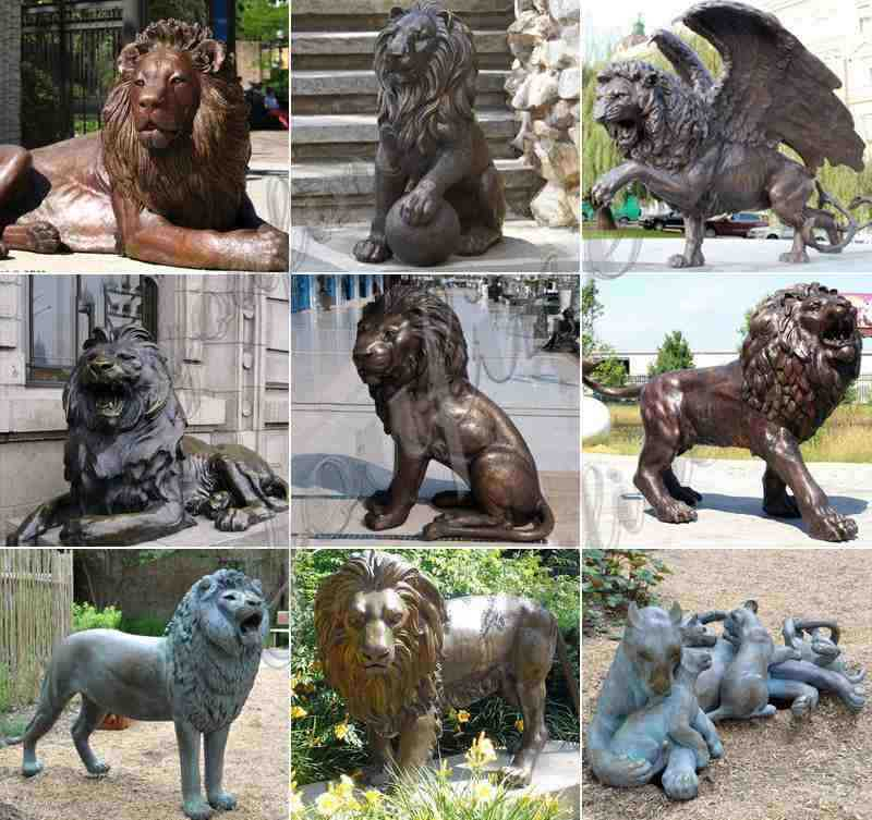 Large Size Outdoor Bronze Lions Sculptures