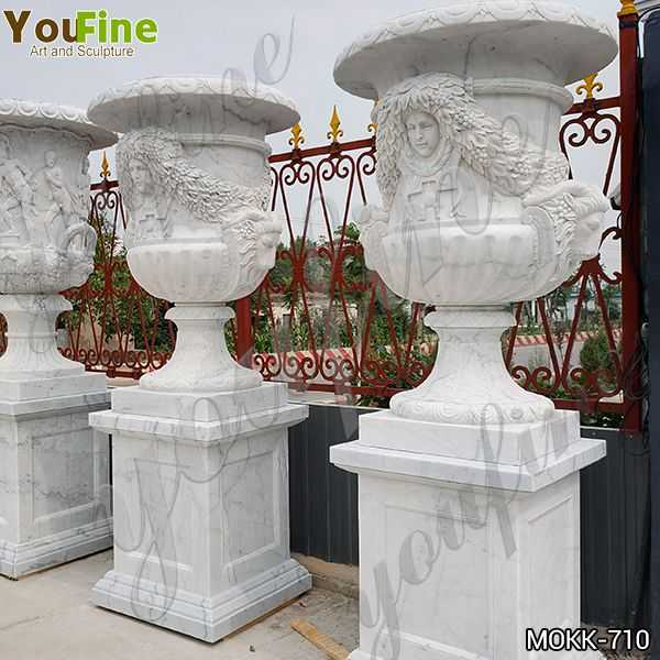 Life Size Garden White Marble Planter Pots for Sale