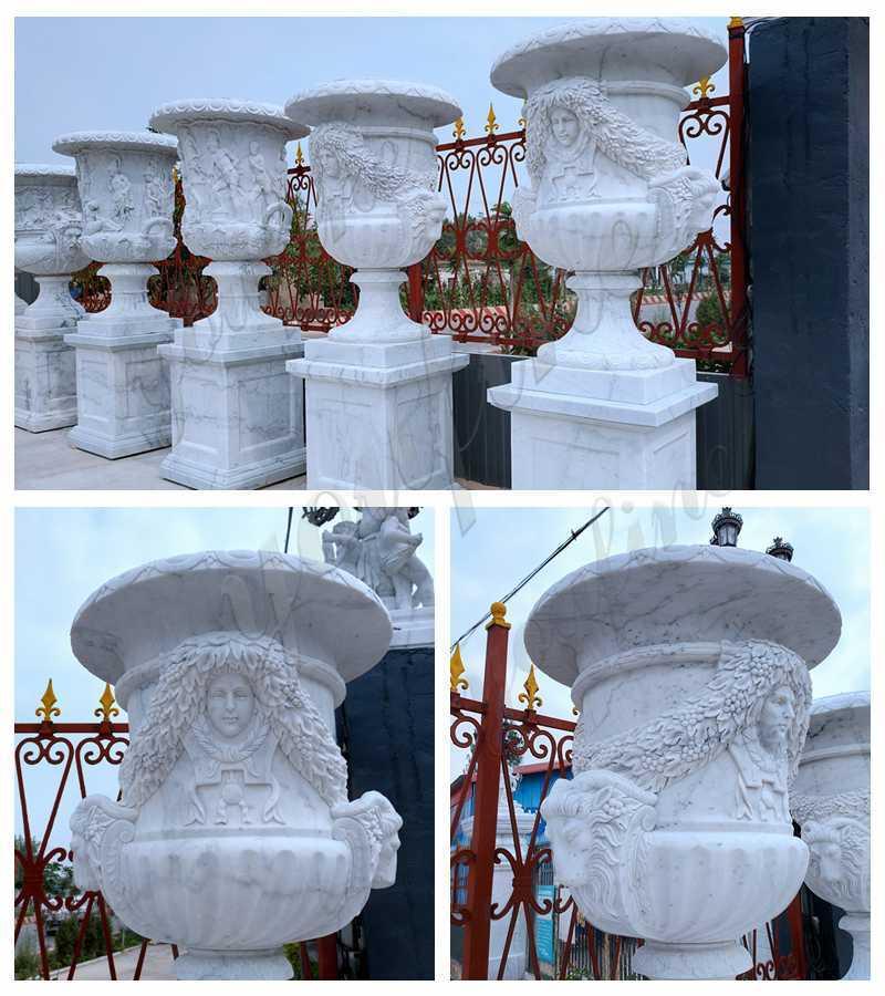 Life Size White Marble Planter Pots details