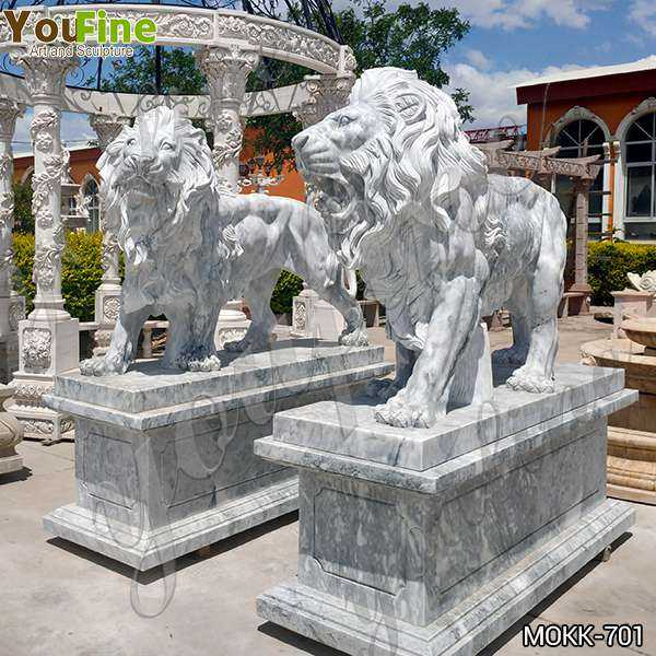 Majestic Marble Walking Lion Statues Outdoor for Sale