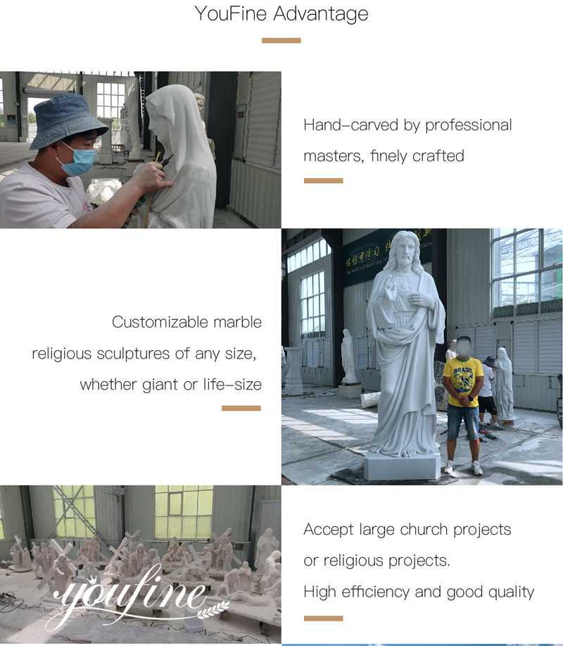 Marble Jesus Statue with Angels Design